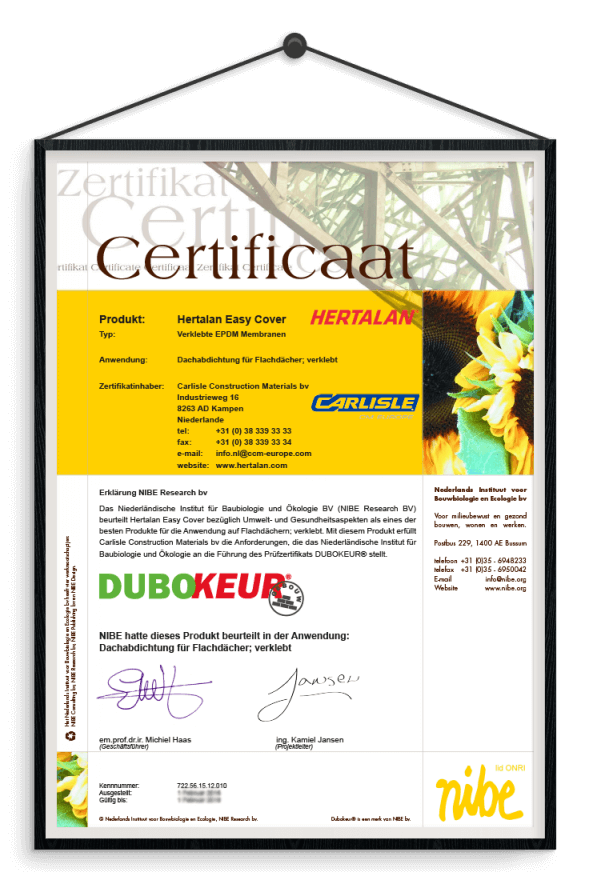 Quality and sustainability certificate